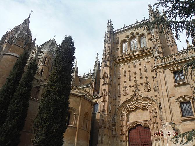Majestic building (Conventos de las Duenas) in Salamanca, Spain.