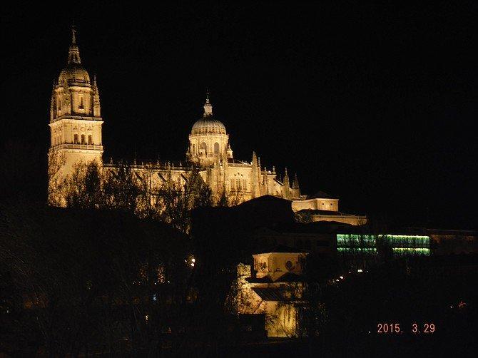 Beautiful night view of Catedral Nueva in Salamanca, Spain.