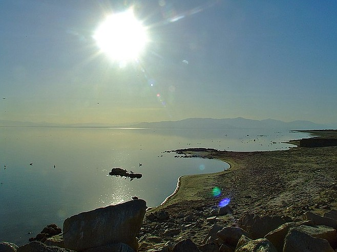 The sun glares above Salton Sea's Bombay Beach.