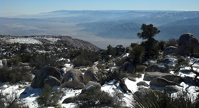Looking to the south toward Agua Caliente County Park from the top of Whale Peak.