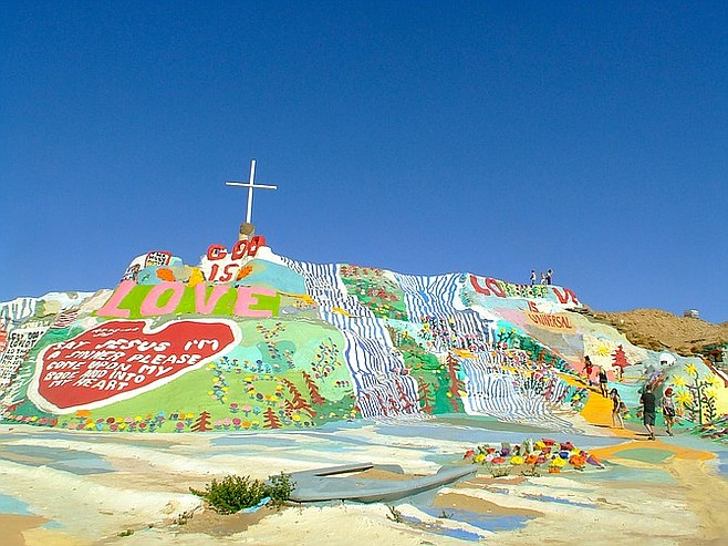 Leonard Knight built his 50-foot-tall Salvation Mountain using strawbales, trash, and lots and lots of paint.