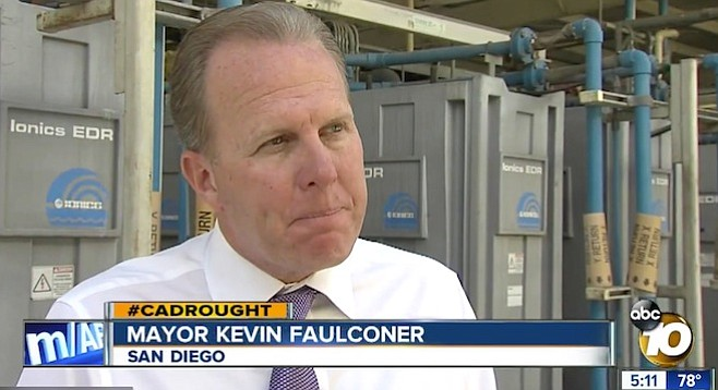 Mayor Faulconer summoned the media to the toilet-to-tap project facility before shoving off for Sacramento.