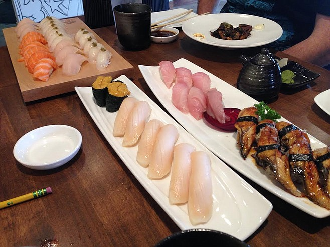 A partial view of our colossal first round of nigiri