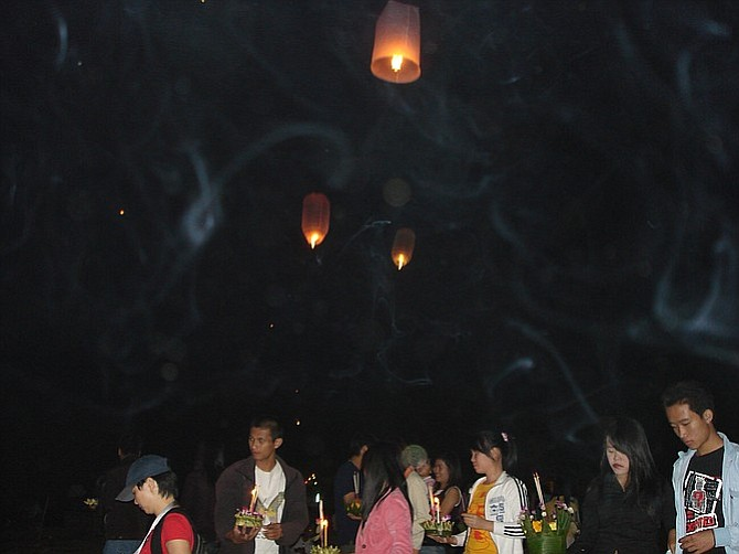 At Chiang Rai's Loy Kratong Festival.