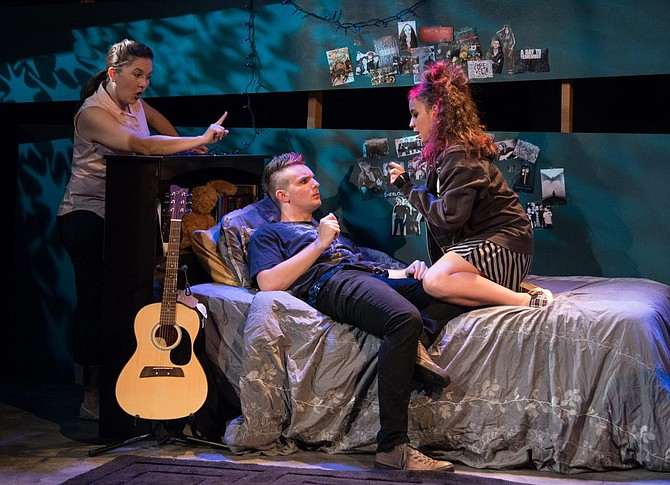 Wendy Waddell, Anton Mabey, Dani Millan in Lesson 443 at Moxie Theatre. - Image by J.T. MacMillan