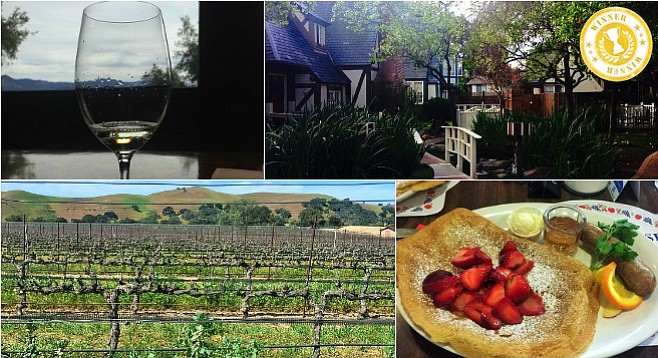 Clockwise from top-left: tasting the Gewürztraminer at Firestone Vineyards; a little Danish charm at Solvang's Wine Valley Inn; Danish pancakes at Paula's; views for days at Firestone.