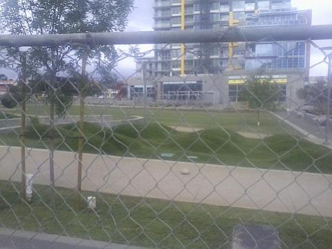 Not only did a bunch of idiots build a colossal tower at 14th and J, completely out of proportion from the rest of the neighborhood and skyline, but now they've sown their new park with a lawn. I suppose they'll make their own water, too.