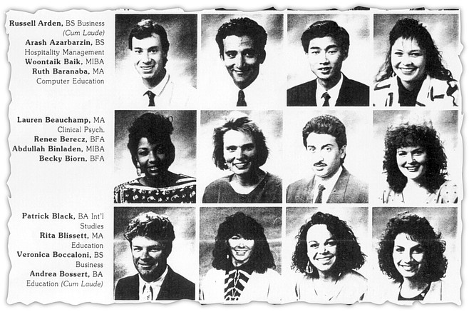 1990 USIU class photo. Binladen second row, third from left. The school catered to wealthy students from Saudi Arabia, Kuwait, and other Middle Eastern countries.