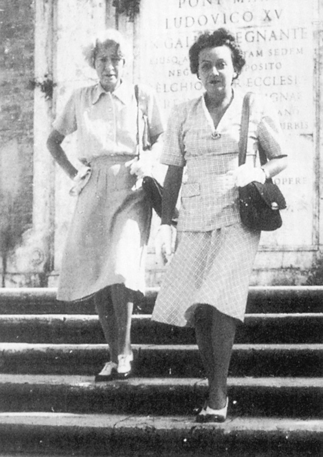 """Janet Flanner and Natalia Danesi Murray in Rome, c. 1950. """"I don't think Janet made enough out of her work for The New Yorker to support a household of two, even."""""""