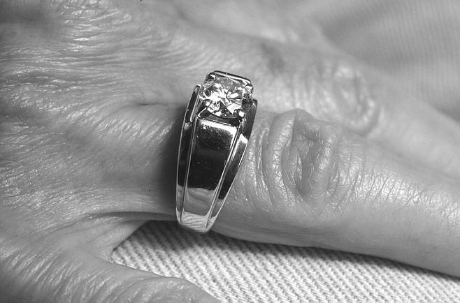 "Diamond ring Clara gave Dr. Seiler. The inscription reads, ""To Bill Seiler, from Clara Clemens Samossoud, the last of the Twains."""