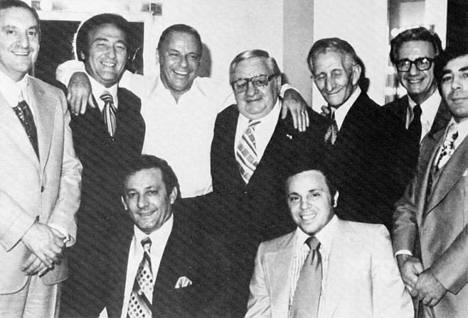 Sinatra and the mob. Top row: Paul Castellano, Gregory De Palma, Frank Sinatra, Thomas Marson, Carlo Gambino, Jimmy Fratianno, Salvatore Spatola; bottom row: Joe Gambino, Richard Fusco