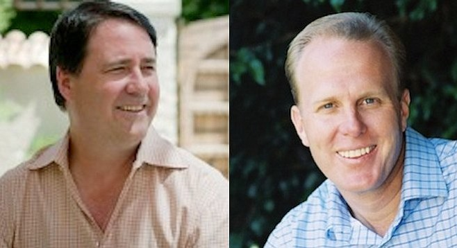"""Though Darius Anderson (left) """"paid $500,000 to settle an investigation"""" on the East Coast, Mayor Faulconer (right) has no problem keeping him employed as San Diego's lobbyist in Sacramento."""