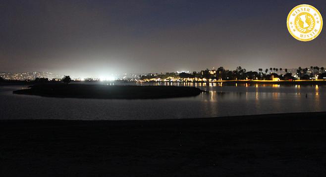 Nighttime San Diego gets a fresh vantage point from Mission Bay's Fiesta Island.
