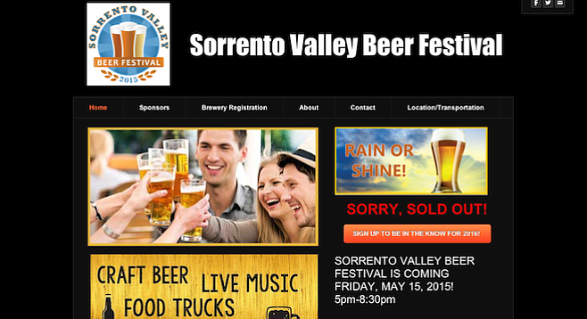 THIS JUST IN: Sorrento Valley Beer Festival — SOLD OUT.