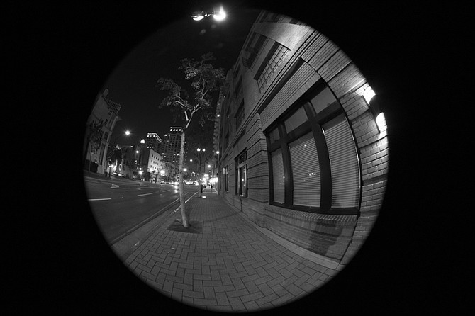 A fisheye perspective on Market St. downtown San Diego.