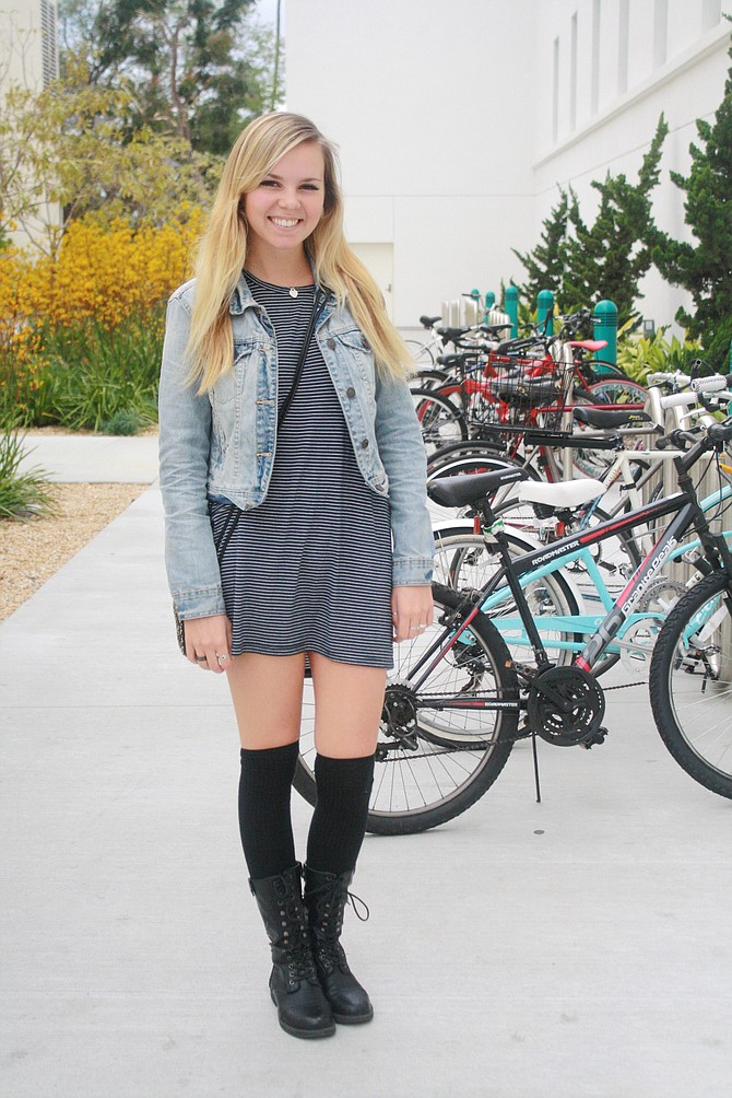 b501df11da0 Laura Vaugeois paired combat boots with knee-high socks