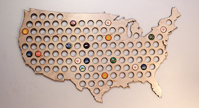 USA Beer Cap Map — hold beer caps from around the country