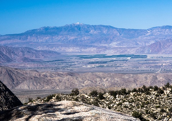 The Santa Rosas and Toro Peak loom over the Borrego Valley from the top of Whale Peak.