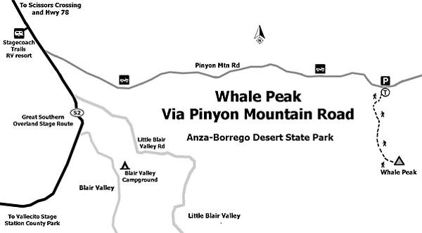 Map to Whale Peak via Pinyon Mountain Road