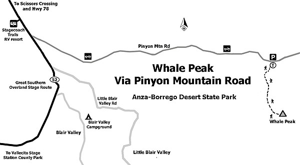 Map to Whale Peak via Pinyon Mountain Road