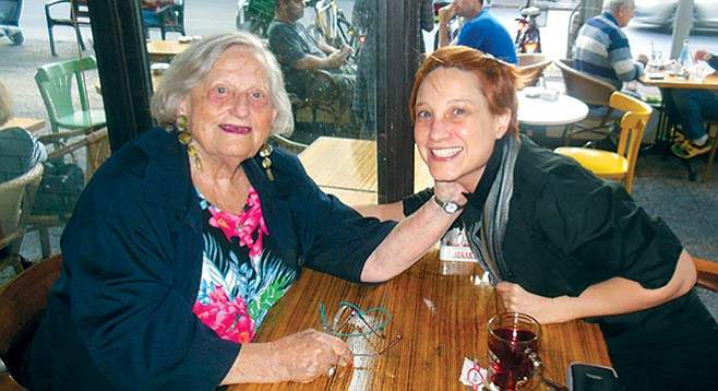 Author Leorah Gavidor (right) with her safta in Tel Aviv