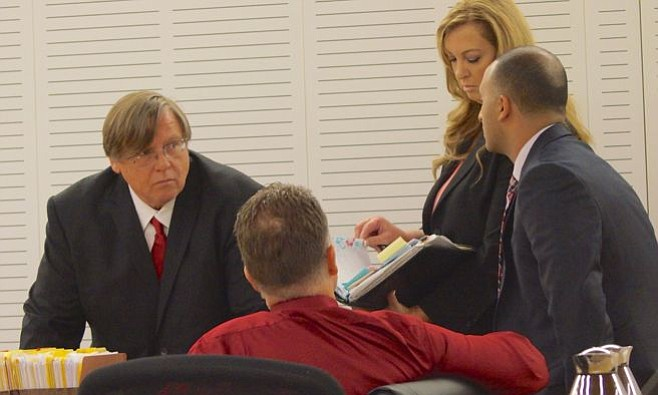 Merritt w his new team of 3 attorneys today, May 22, 2015. Photo by Weatherston