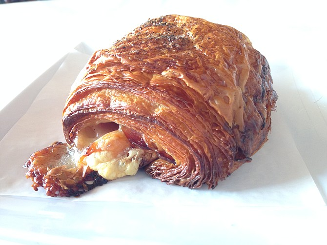 Crispy reheated ham and Gruyère croissant