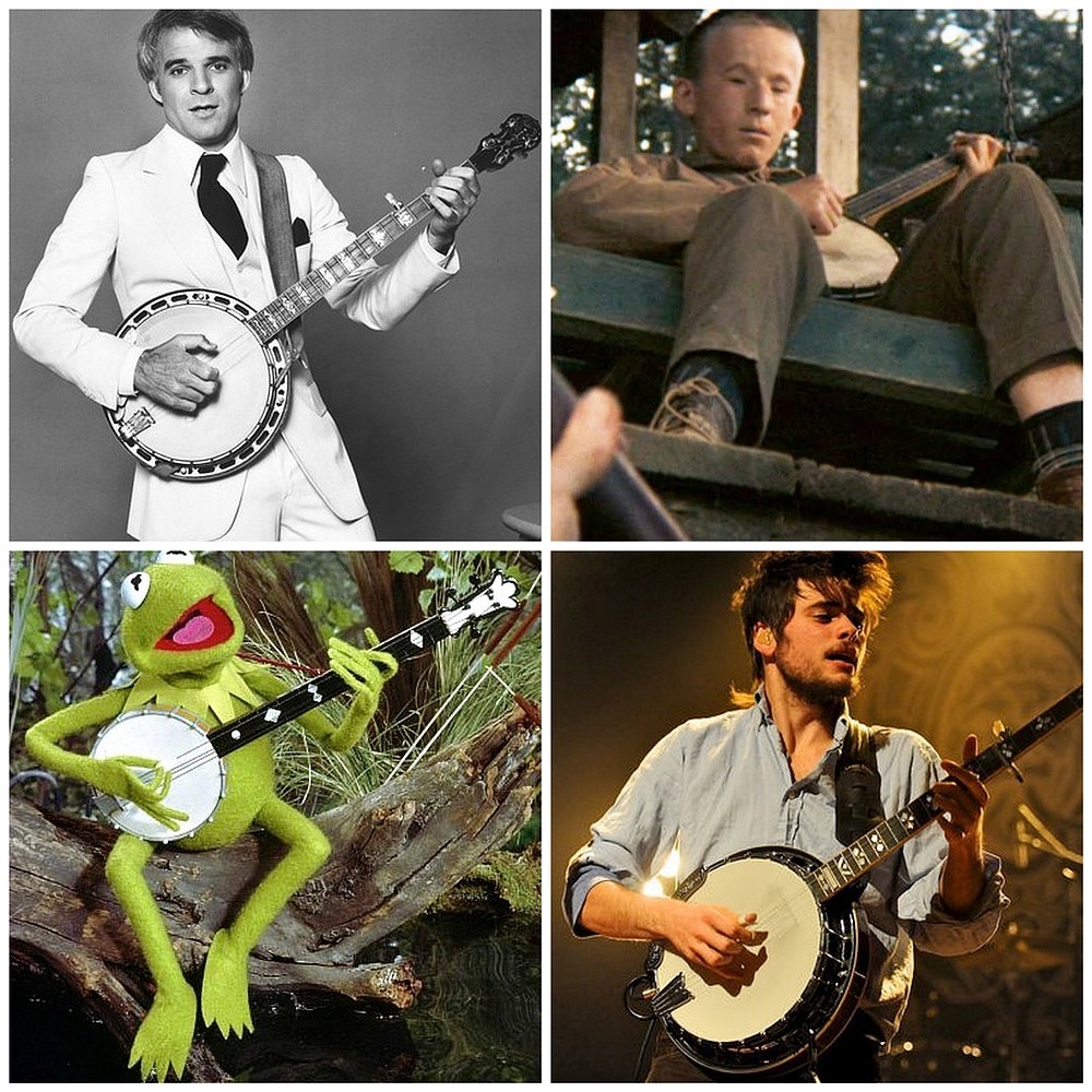 One of These Things is Not Like the Others: clockwise from upper left: comedic musician Steve Martin, inbred porchdweller from Deliverance, folk rock phenomenon Mumford & Sons, felt swamp denizen Kermit the Frog.