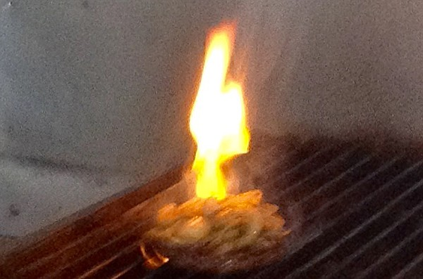 My Rooster Burger gets the full flame treatment
