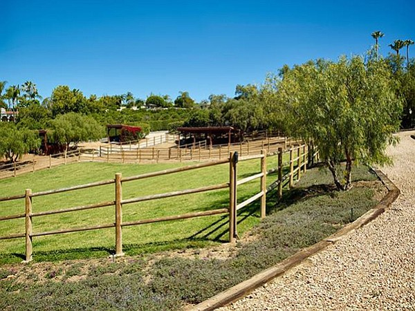 Horse corrals and barn with stables for six horses