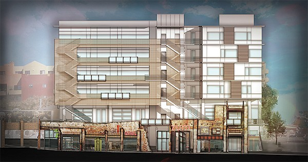 Proposed as the first office building in Makers Quarter at 15th & F. Parts of the existing building would be preserved.