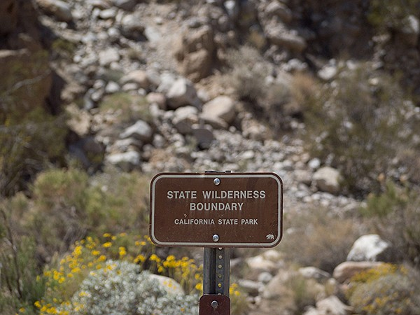 Rockhouse Canyon State Wilderness Boundary sign
