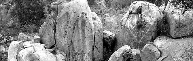 In ten minutes of walking through Ocotillo's Fossil Canyon, we found dozens of fossils and boulders of limestones, sandstones, marbles, schist, gneiss, quartz, phyllite, and gypsum. - Image by Joe Klein
