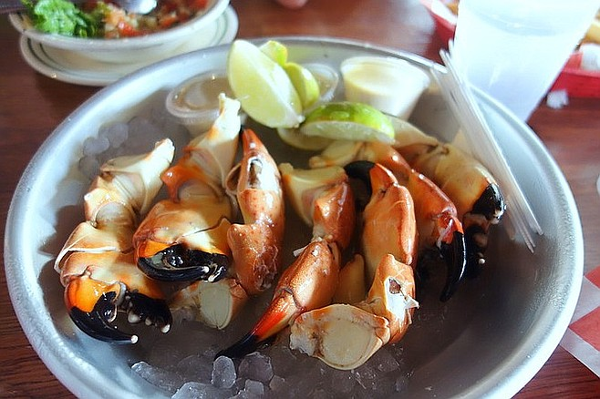 Stone crab claws at Key West's Half Shell Raw Bar.