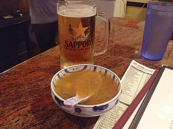 Soup and Sapporo: Miso soup is free and the beer's only $2
