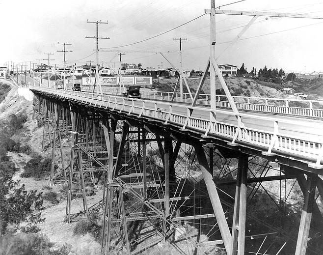 Original trestle bridge over Switzer Canyon, circa 1930s
