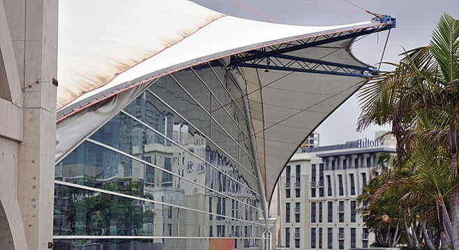 Indications of wear and tear on the convention center's sails