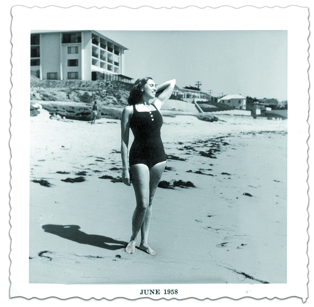 "Eleanor Widmer in La Jolla, 1958. ""I would see Kingsley and Eleanor in swimsuits walking down to the ocean from time to time, and they looked like models."""