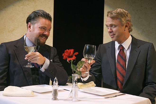 Richard Baird and Jeffrey Fracé in Betrayal at North Coast Rep