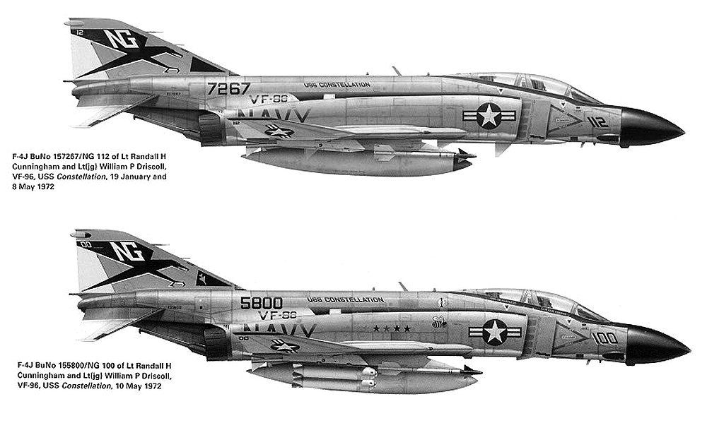 F-4s flown by Cunningham and Driscoll. On Jan. 19, 1972 Cunningham and Driscoll spotted the glint of two MiG-21s in afterburner, about four miles away.