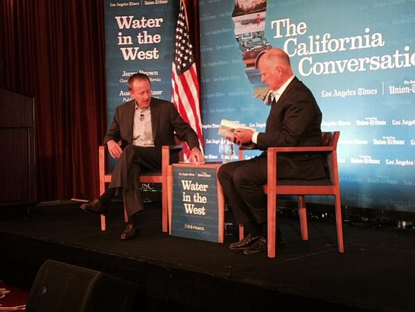 U-T and L.A. Times publisher Austin Beutner (left) interviewed governor Jerry Brown earlier this week.