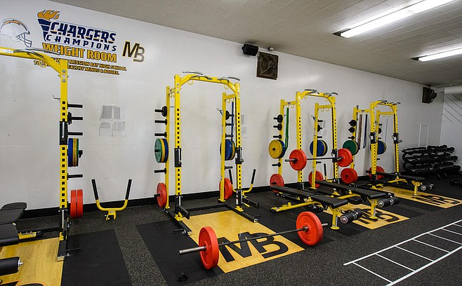 Weight room at Mission Bay High School