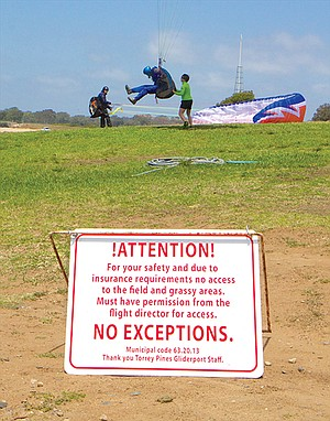 """Though a public park, access to the flight area of the Torrey Pines Gliderport is controlled by """"flight director"""" Robin Marien."""