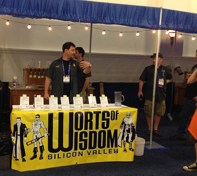 Members of Silicon Valley homebrewers club Worts of Wisdom serve homebrew at the NHC expo.