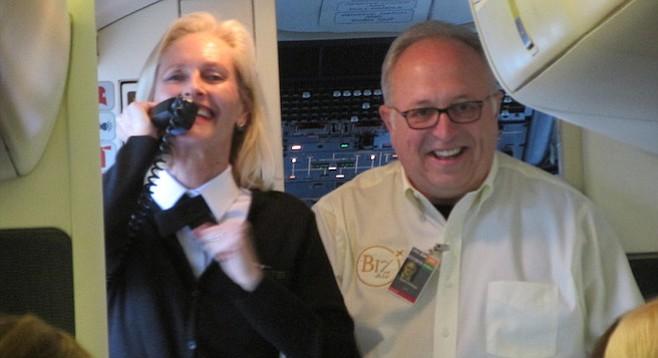 Flight attendant Robin Rossi and owner Dan Cretsinger