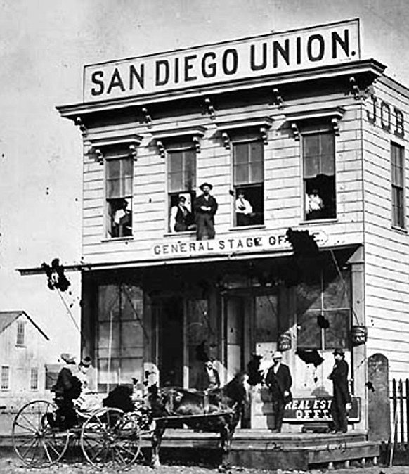 San Diego Union building, 4th Street, south of Broadway, 1872