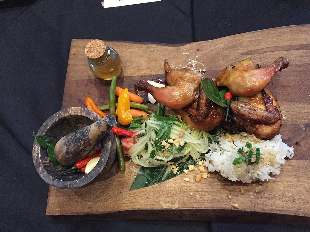 Grilled Cornish Hen with fixings