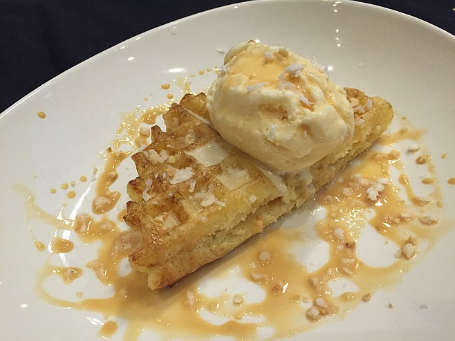 Coconut Yucca Waffle with sweet corn and caramel ice cream