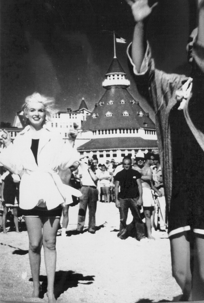 """Monroe between takes. """"Whatever happened on the set of Some Like It Hot resembles a fish story. It just grows and grows."""""""