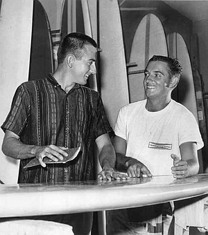 Larry Gordon and Floyd Smith. By the fall of 1959, Gordon and Smith were making and selling boards out of the garage at Smith's apartment (in an alley off Balboa Avenue, between Grand and Garnet).